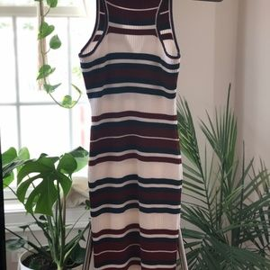 Say What? Dresses - Ribbed Knit Midi Dress w/ Lace-Up Front